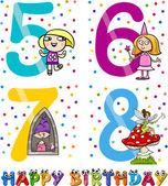 Birthday cartoon design for girl — Stock Vector