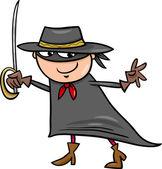 Boy in zorro costume cartoon — Stock Vector