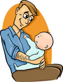 Father with baby cartoon illustration — Stock Vector