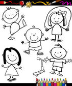Happy kids cartoon coloring book — Vetorial Stock