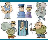Thieves and thugs cartoon set — Stockvektor