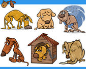 Sad stray dogs cartoon illustration set — Stock Vector