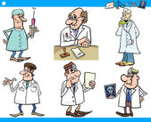 Cartoon medical staff characters set — Stock Vector