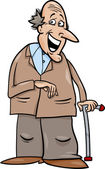 Senior with cane cartoon illustration — Vector de stock