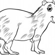 Capybara animal cartoon coloring page — Vetorial Stock