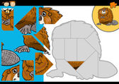 Cartoon beaver jigsaw puzzle game — Stock Vector
