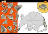 Cartoon armadillo jigsaw puzzle game — Stock Vector