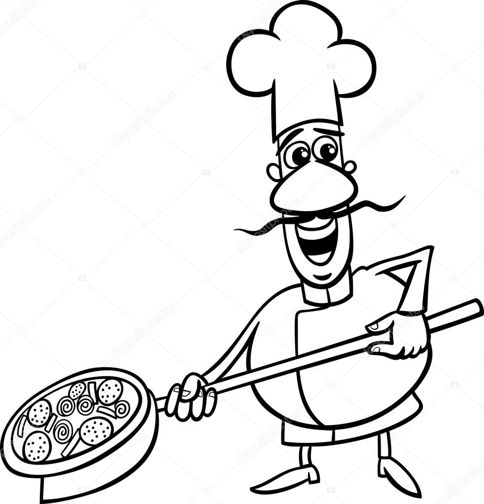 Italiano cocinar Página para colorear de dibujos animados ...
