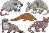 Wild animals set cartoon illustration — Stock Vector