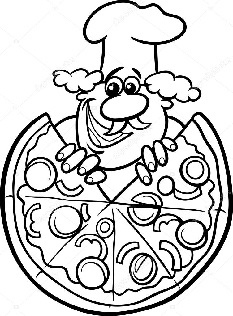 Italian pizza cartoon coloring page — Stock Vector ...