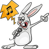 Bunny singing rock cartoon illustration — Stock Vector