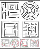 Mazes or labyrinths diagrams set — Vettoriale Stock