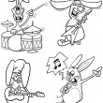 Rabbits musicians set cartoon coloring book — Stock Vector