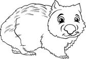 Wombat animal cartoon coloring book — Stock Vector
