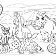 African animals cartoon coloring page — Stock Vector #48878857