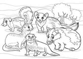 Mustelids animals cartoon coloring page — Stock Vector