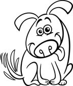 Funny dog cartoon coloring page — Stock Vector