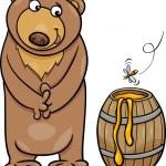 Bear with honey cartoon illustration — Stock Vector #49200939