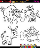 Farm animals set cartoon coloring book — Stock Vector