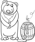Bear with honey cartoon coloring page — Vetorial Stock