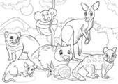 Marsupials animals cartoon coloring page — Stock Vector