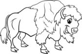 Bison american buffalo coloring page — Stock Vector