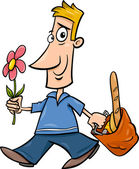 Man with flower cartoon illustration — Stock Vector