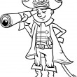 Постер, плакат: Pirate boy cartoon coloring page