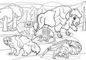 Mammals animals cartoon coloring page — Stock Vector