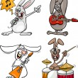 Rabbits rock musicians set cartoon — Stock Vector #49928165