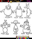 Aliens set cartoon coloring book — Stock Vector