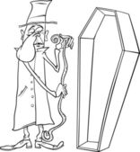 Undertaker with coffin cartoon illustration — Stock vektor