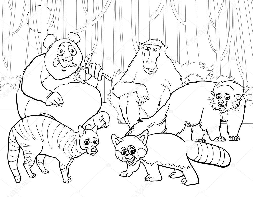 animals group cartoon coloring page stock vector izakowski 50068411. Black Bedroom Furniture Sets. Home Design Ideas