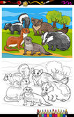 Mustelids animals cartoon coloring book — Stock Vector