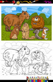 Rodents animals cartoon coloring book — Stockvektor