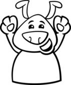 Happy dog cartoon coloring page — Stock vektor