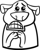 Terrified dog cartoon coloring page — Stock Vector