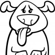 Постер, плакат: Dog in heat cartoon coloring page