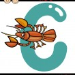 Letter c for crayfish cartoon illustration — Stock Vector #50899195