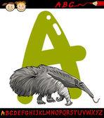 Letter a for anteater cartoon illustration — Stock Vector