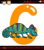 Letter c for chameleon cartoon illustration — Stock Vector