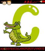 Letter c for crocodile cartoon illustration — Stock Vector