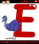 Letter e for emu cartoon illustration — Stock Vector