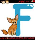 Letter f for fennec fox cartoon illustration — Stock Vector