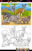Marsupials animals cartoon coloring book — Stock Vector