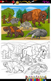 Mammals animals cartoon coloring book — Stock Vector