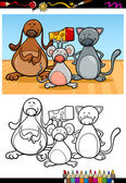 Cute pets cartoon coloring book — Stock Vector