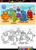 Funny aliens cartoon coloring book — Stock Vector