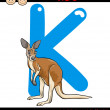 Letter k for kangaroo cartoon illustration — Stock Vector #51070881