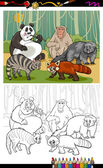 Funny animals cartoon coloring book — Stock Vector